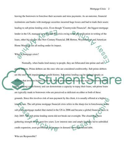 Mortgage Crisis College Essay