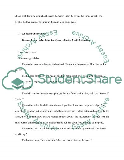 Naturalistic Observation essay example