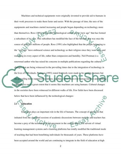 Technology and Cultural Change essay example