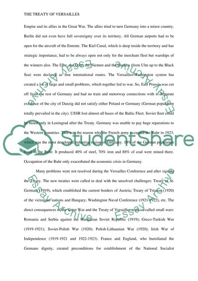 Treaty Of Versailles Essay Example  Topics And Well Written Essays  Treaty Of Versailles