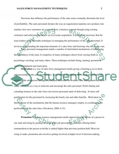 Individual Sales Management Paper Essay example