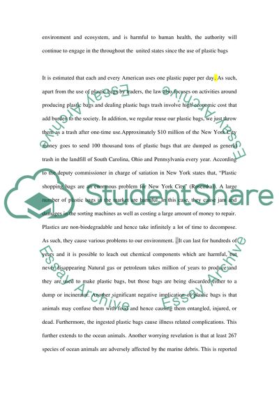 Plastic Bag Essay Example | Topics and Well Written Essays - 1500 words