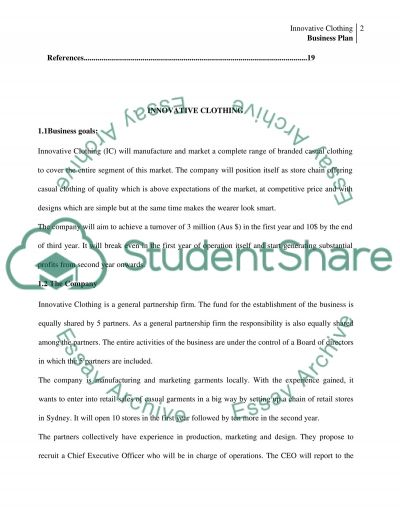 Business Plan for Innovative Clothing essay example
