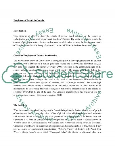 Employment Trends in Canada essay example