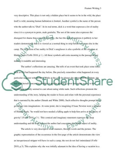 Feature writing Essay example