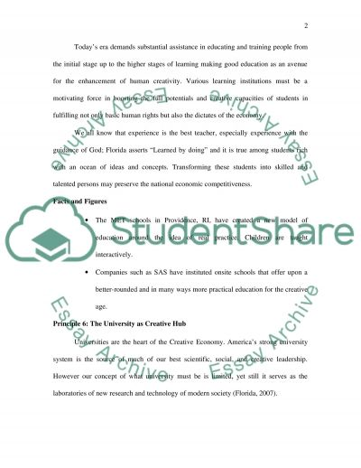 Restrucure education for creativity essay example