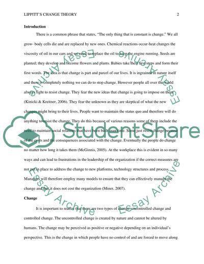 lippitt u0026 39 s phases of change theory essay example