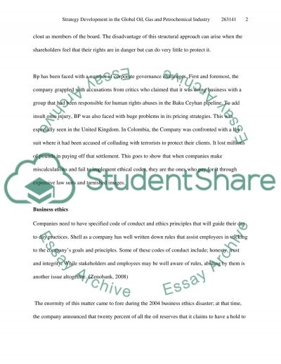 Strategy Development in the Global Oil, Gas and Petrochemical Industry essay example