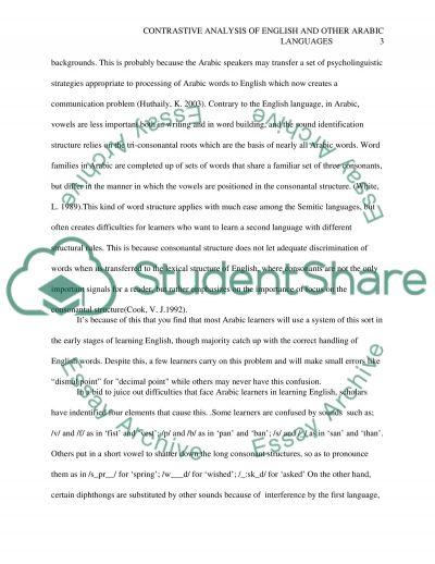 Contrastive AnalysisPaper essay example