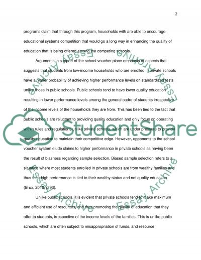 Do school vouchers improve the quality of education essay example
