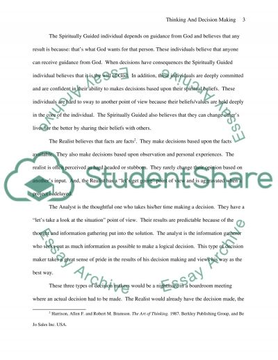 Thinking and Decision Making Paper essay example