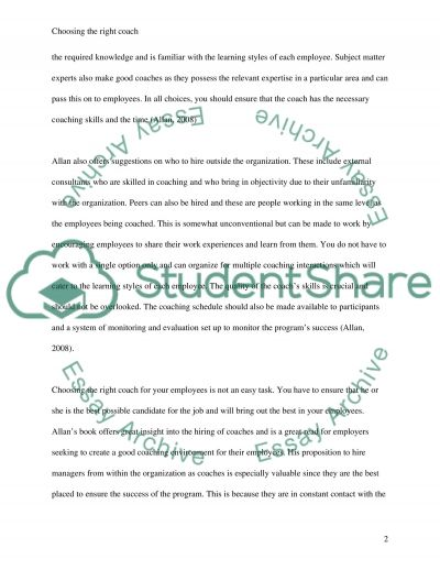 Choosing the Right Coach for Your Employees essay example