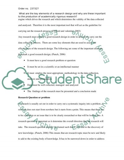 Research Design essay example