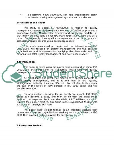Quality Management Systems essay example
