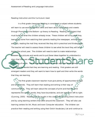 Assessing Reading and Language Instruction essay example