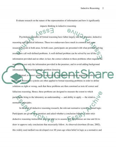 Inductive Reasoning essay example