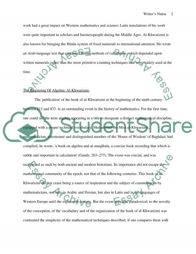 Al-Khwarizmi essay example