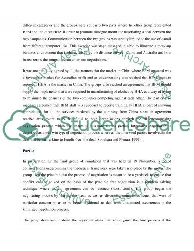 CROSS CULTURAL NEGOTIATION MGT essay example
