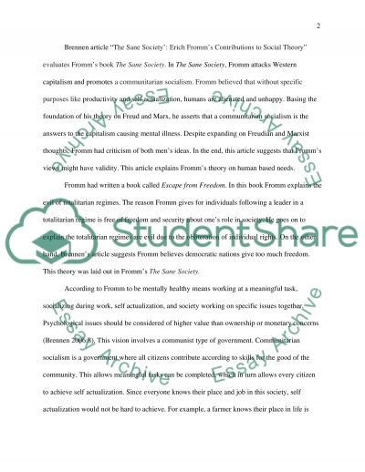 Fromms Human Needs Theory essay example