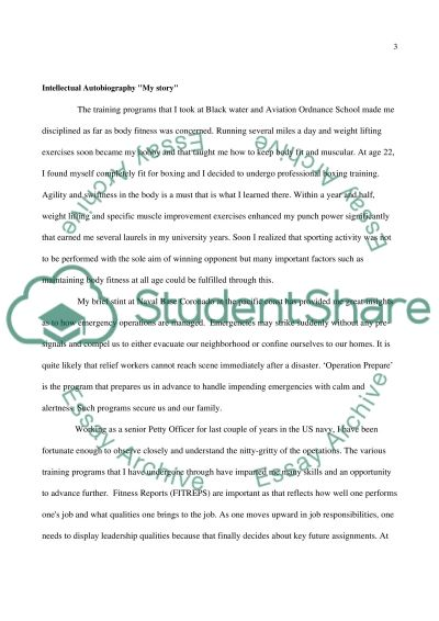 Intellectual Autobiography My story essay example