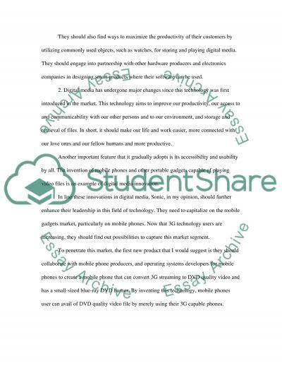 Sonic essay example