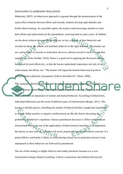 Managing classroom Challenge essay example