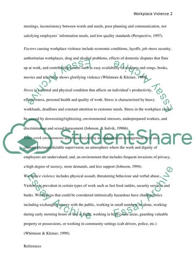 Workplace Violence Essay Example | Topics and Well Written Essays