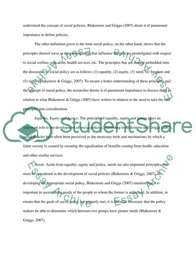 sample essays social policy