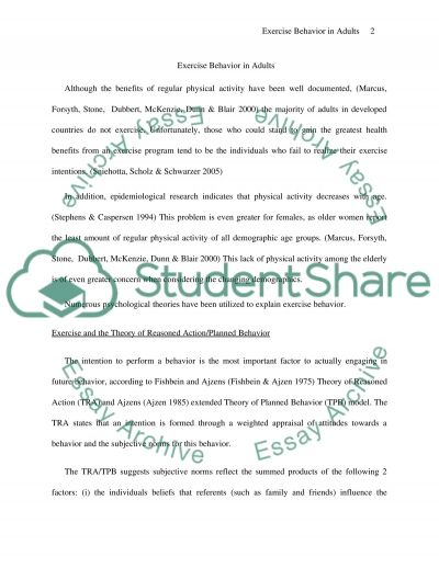 Exercise Behavior in Adults essay example
