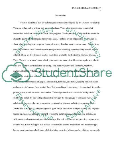 Classroom Assessment Paper