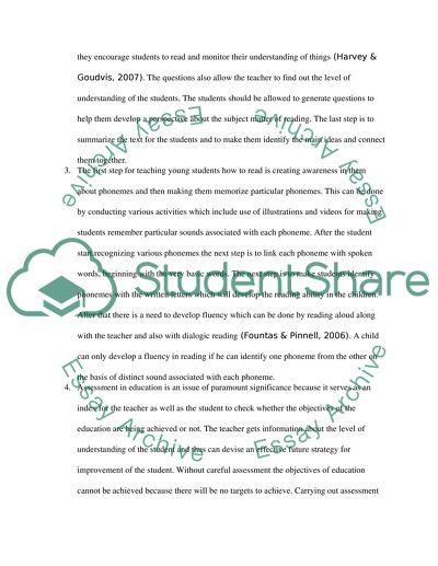 Assessment of Comprehensions Education Essay