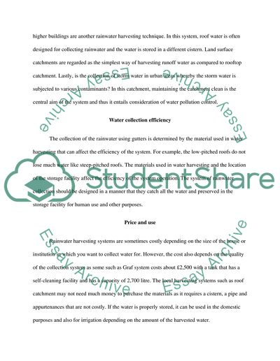 rainwater harvesting essay with synopsis
