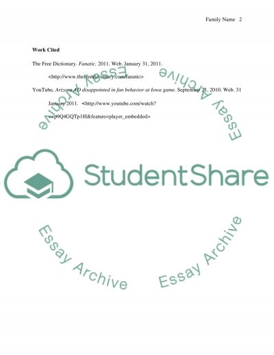 Fieldnote about fans essay example