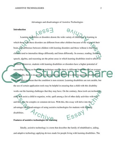 Advantages and Disadvantages of Assistive Technologies for students with Learning disabilities