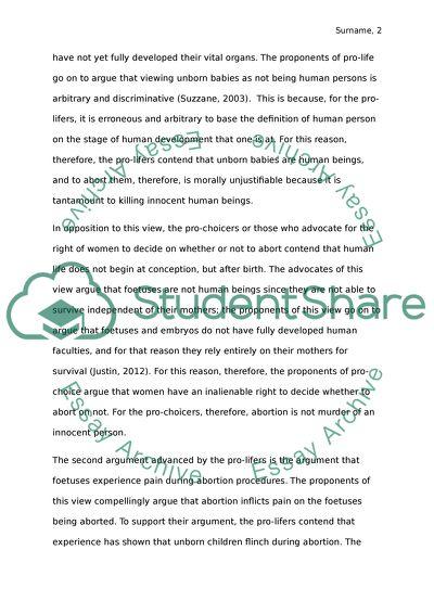 Student essays on abortion