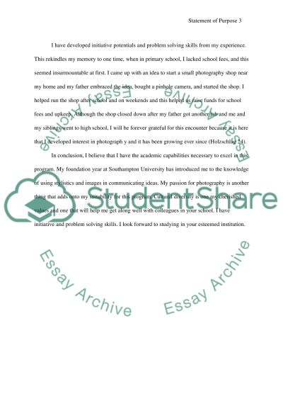Personal statement for second year