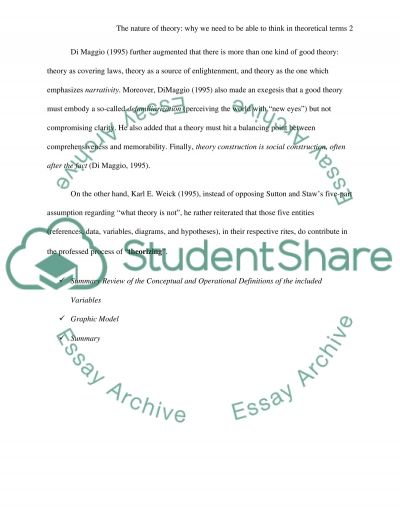 The Nature of Theory essay example