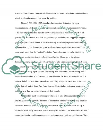 Business Decision Making Research Paper