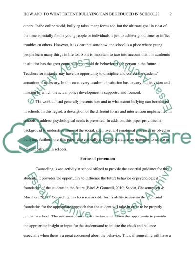 essay on bullying in schools 10 ways to help reduce bullying in schools  the same language within all its schools in order to reduce bullying to start, the schools need to have a common.