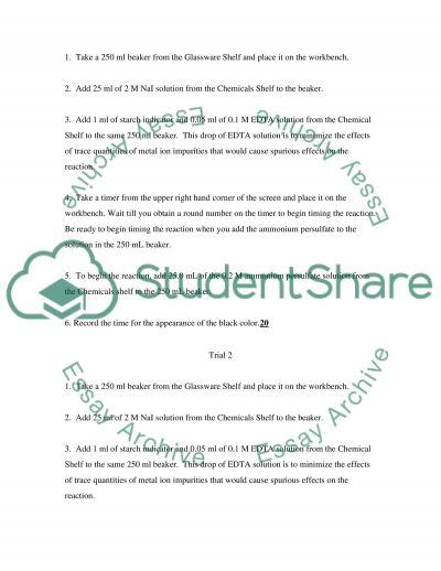Kinetics Lab essay example