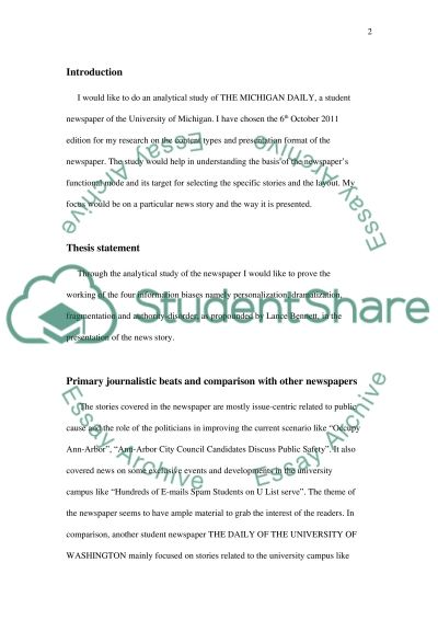 Media Study Assignment Essay example