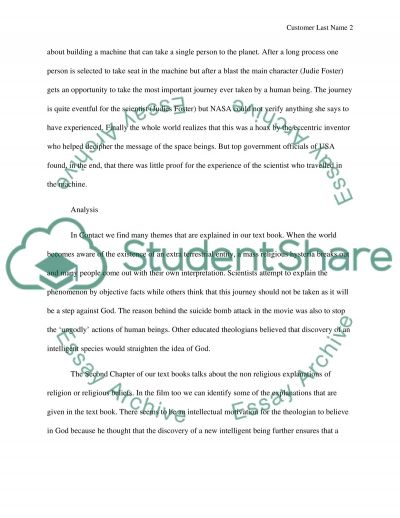 Movie Reflection Paper   Contact Essay Example