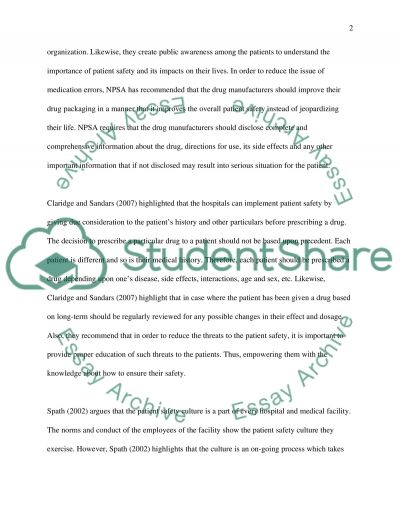 PATIENT SAFETY CULTURE Essay example