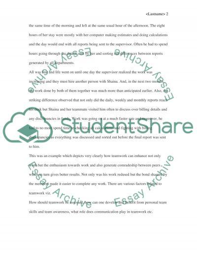 Teamwork essay example