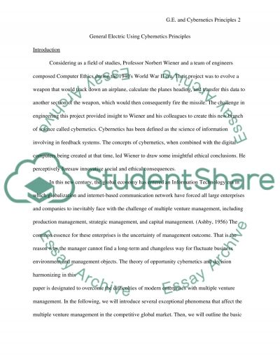 General Electric and Cybernetics Principles essay example