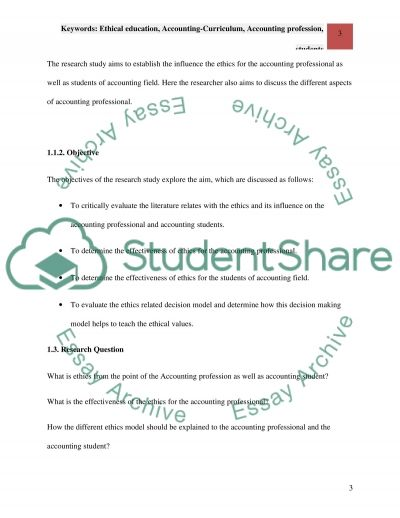 Keywords: Ethical education, Accounting-Curriculum, Accounting profession, students essay example