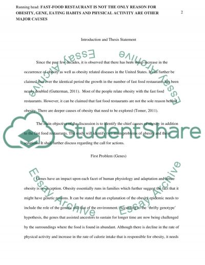 Fast-food Restaurant and Reasons for Obesity essay example