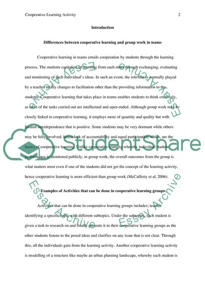 Cooperative Learning Activity and Paper