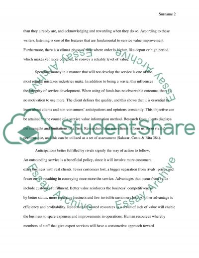 Service Value Assessment  Essay example