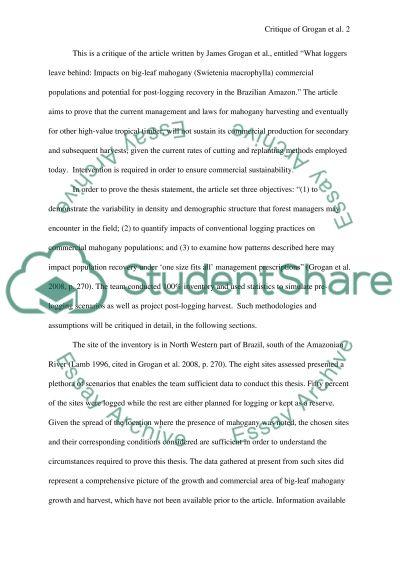 Mahogany Harvesting essay example